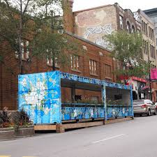 Shipping container used as a parklet, Montreal