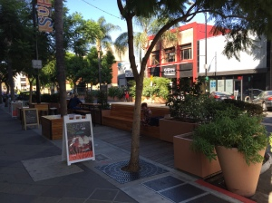 New parklet in from of SoFA Market on South First Street, SoFA